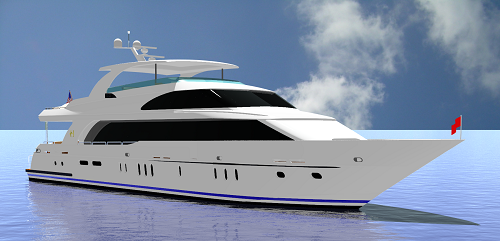 Rendering of new 116′ superyacht Renaissance by Hargrave Custom Yachts