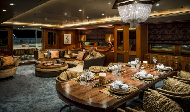 Super Yacht LADY INDIA - Dining - Photo by Peter Baas