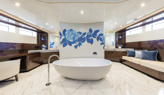 Super Yacht SERENITY Owners Bathroom Luxury Yacht Charter