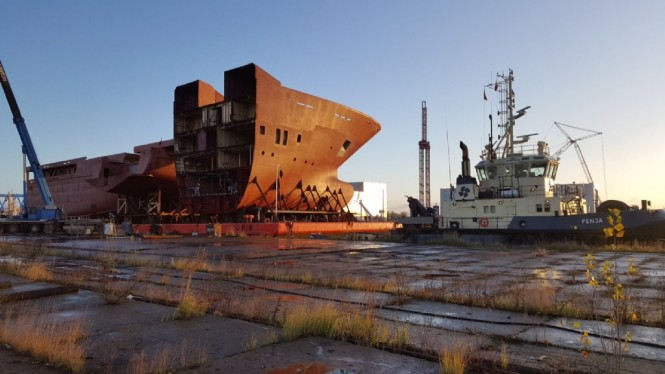 116m Kleven Explorer Yacht Support Vessel NB 370 - Hull sections - Photo by CGI Shipbuilding