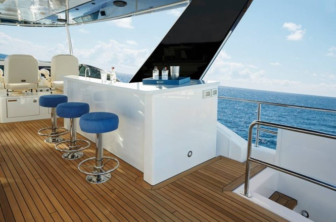Hatteras 70 - Fun Flybridge Bar