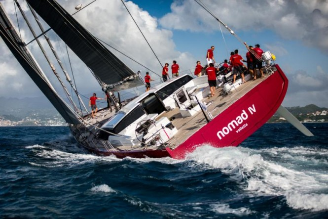 Jean-Paul Riviere's French Finot Conq 100 Nomad IV approaching the finish line in Grenada of the RORC Transatlantic Race (RORC Arthur Daniel)