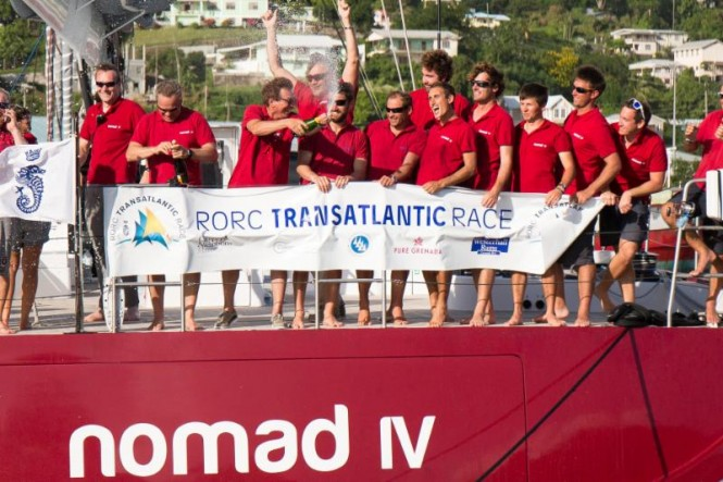Nomad IV Crew celebrating - RORC Arthur Daniel