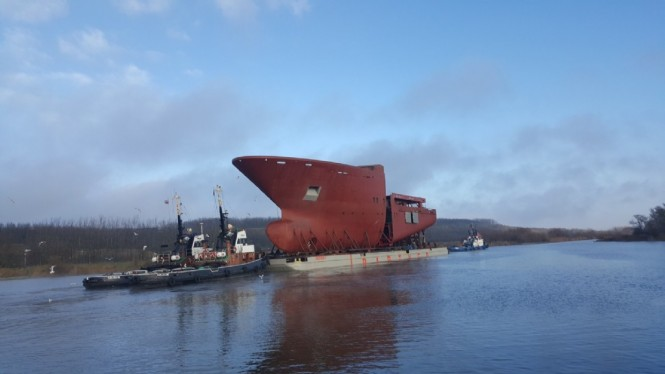 One of the hull sections for the 116m NB 370 by Kleven - Photo credit to CGI Shipbuilding