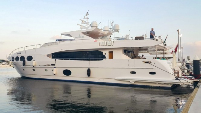 Superyacht Majesty 105 berthed at the Yas Marina during the F1 race