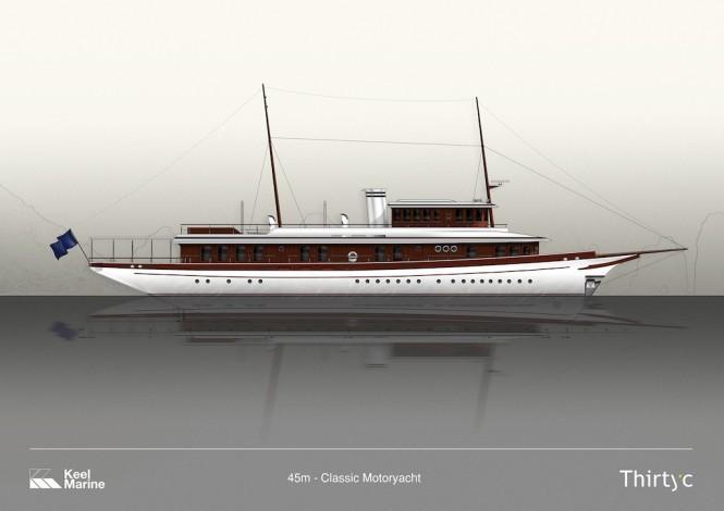 45m Classic Superyacht - Image credit to ThirtyC