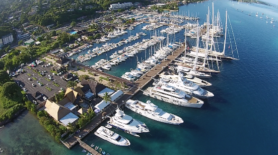 Aerial view of Tahiti's Marina Taina