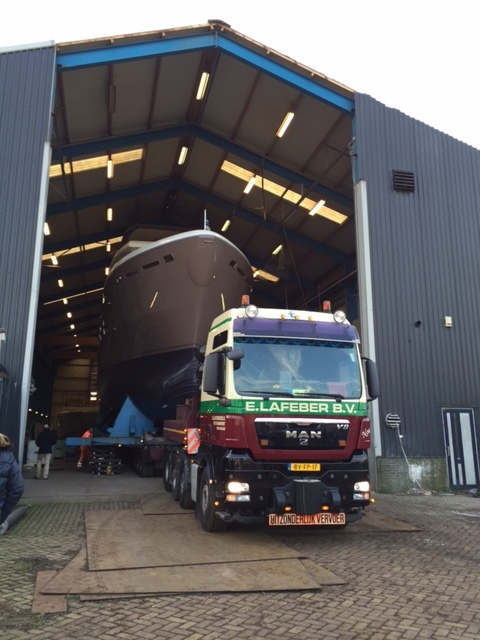 DEY24 leaving her shed at Acico Yachts