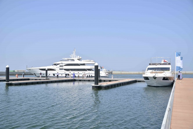 Majesty 135 and Majesty 48 arriving in Almouj Marina at Al Mouj Muscat