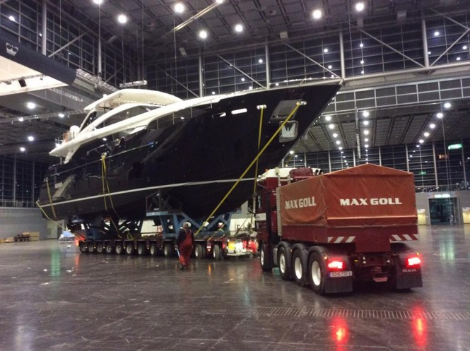 Princess 30M KOHUBA entering the hall - Image credit to Princess Yachts International plc