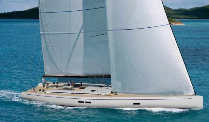 Rendering of First Swan 95 currently in build at Nautors Swan