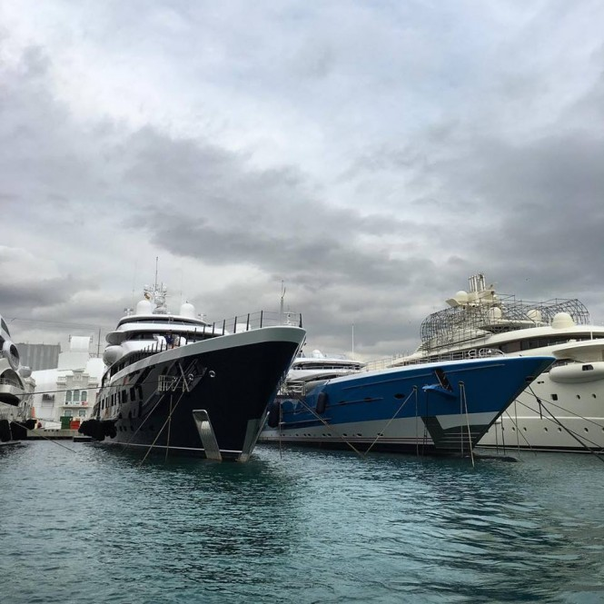 Two Feadship jewels - SYMPHONY and MADAME GU in Barcelona, Spain - Photo by Feadship Fanclub and sr_brown5