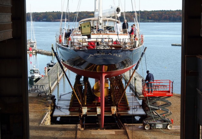 Re-launch of ASOLARE at Hodgdon Yacht Services