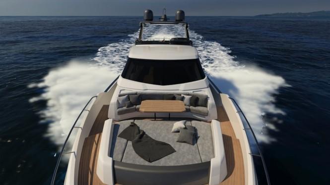 Ferretti Yachts 850 bow lounge
