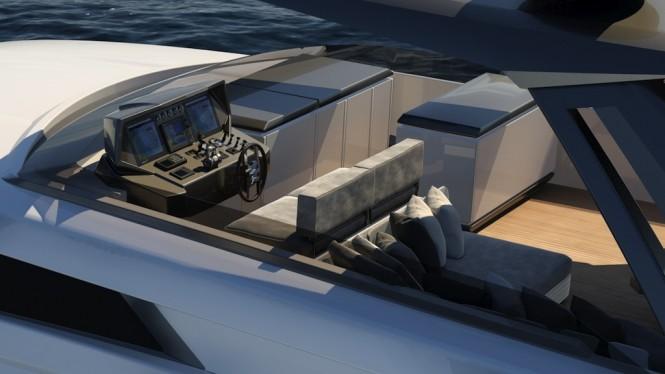 Ferretti Yachts 850 flybridge view