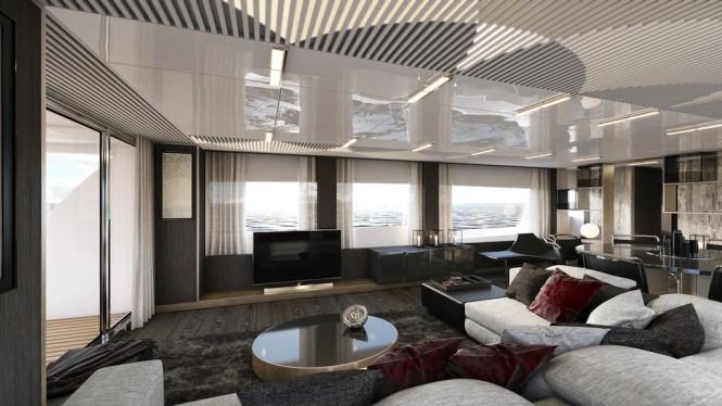 Ferretti Yachts 850 - saloon side view
