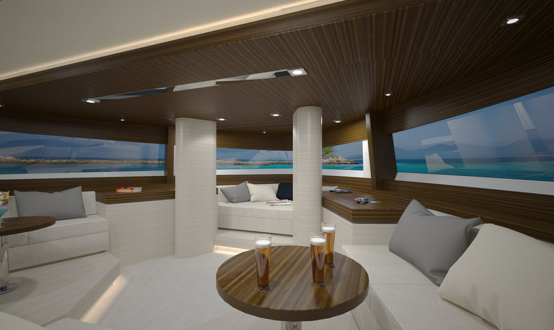 Luxury yacht top deck 40m observation room yacht for House plans with observation room
