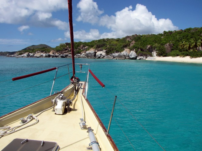 Anchored off Trunk Bay. Photo by Debbie