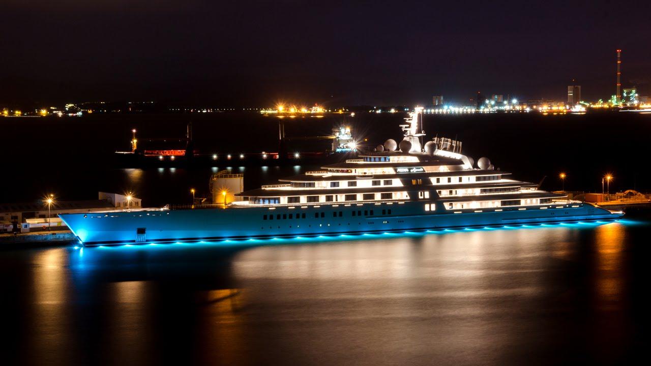Yachts At Night Azzam — Yacht...