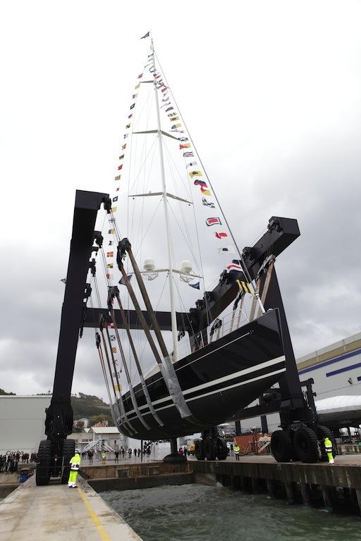 Sailing yacht DAHLAK at Perini Navi being launched