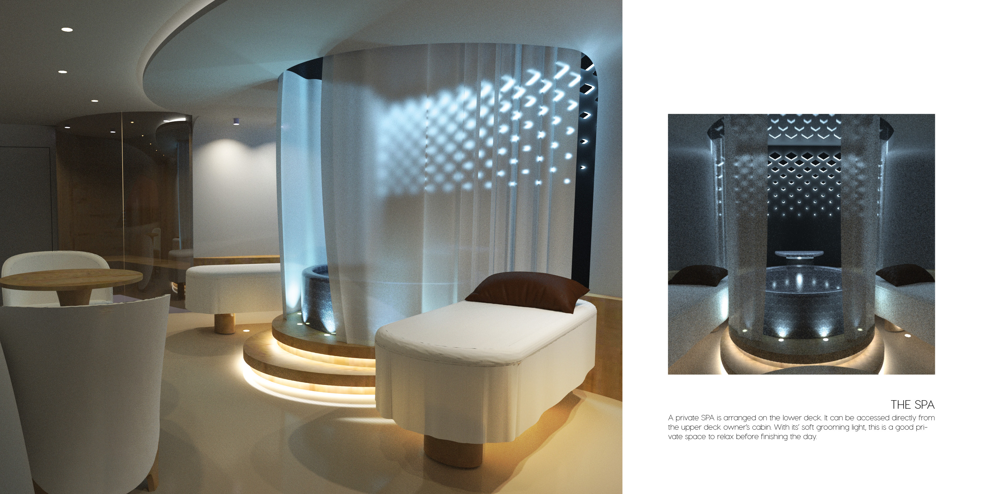 spa saloon and dining interior accommodation luxury superyacht