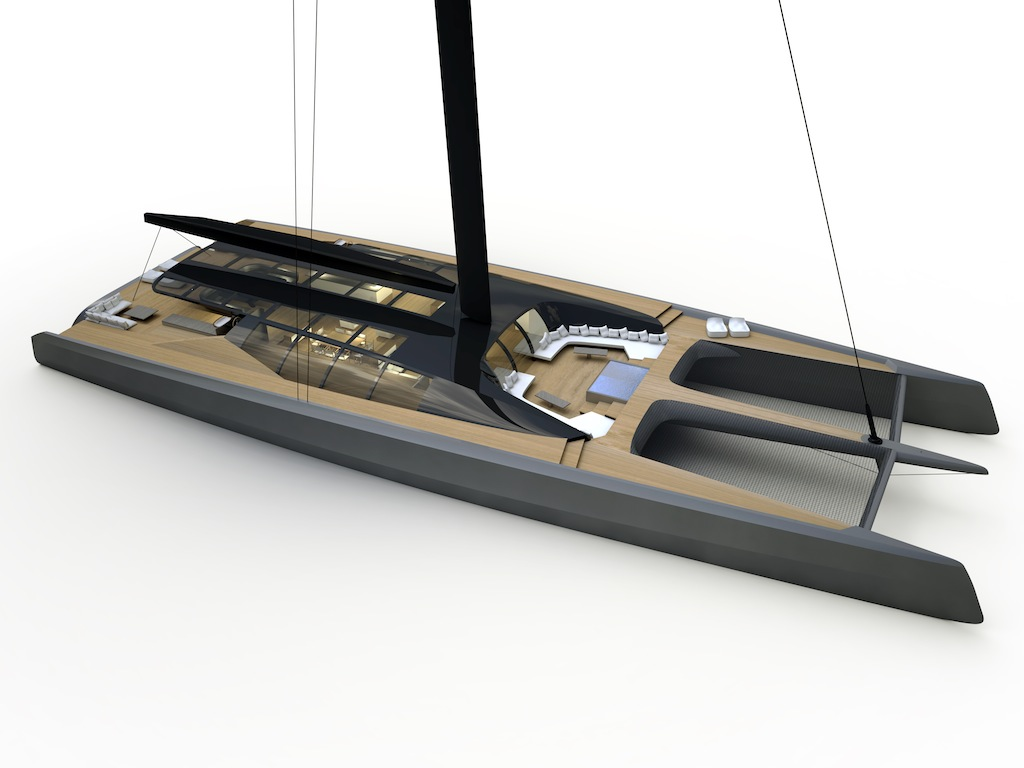 40 Meter To Feet Blackcat Sailing Catamaran Concept Yacht Charter