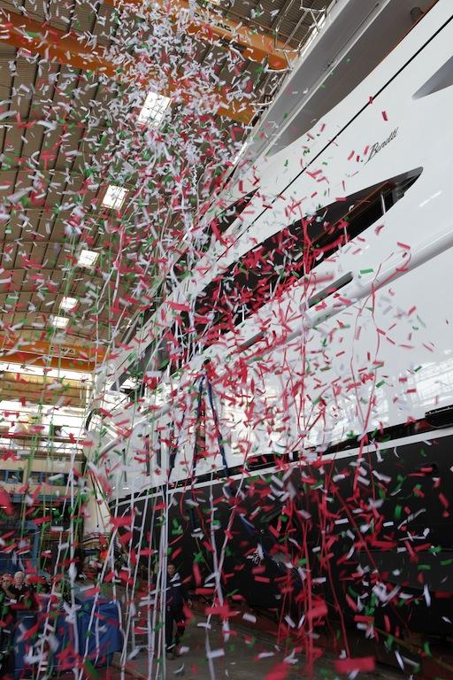 Launch ceremony of DOMANI at Benetti Shipyard