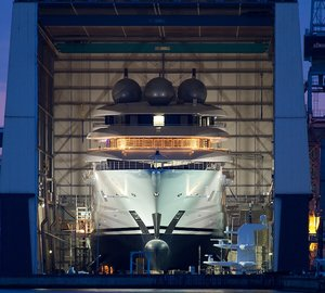 100+M Mega Yacht Project MISTRAL Splashes At Lurssen
