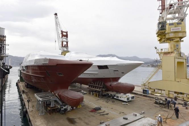 Moving two 52m Sanlorenzo Yachts to La Spezia yard facility