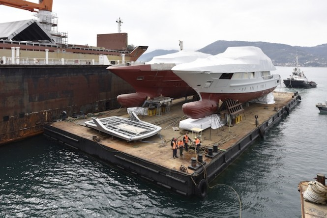 Two 52m steel superyachts being moved to La Spezia by Sanlorenzo