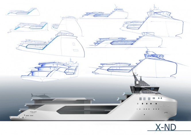 VARD Explorer Superyacht Project KILKEA - Side Profile and Sketch