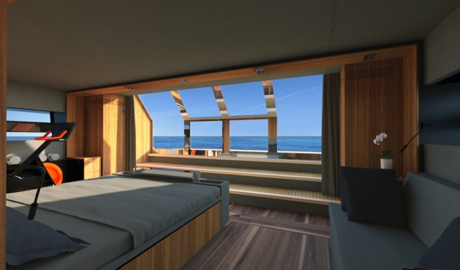Wally Casa aft Owners' suite opening onto Terraca-on-the-sea