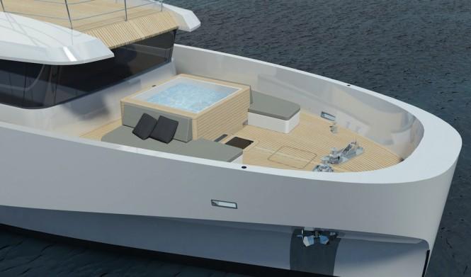 Wally Casa forward deck with custom hot tubWally Casa forward deck with custom hot tub