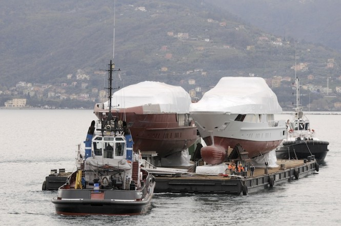 two 52STEEL superyachts being moved to La Spezia by Sanlorenzo