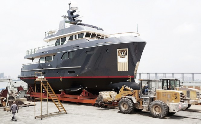 Bering 80 yacht VEDA during launch