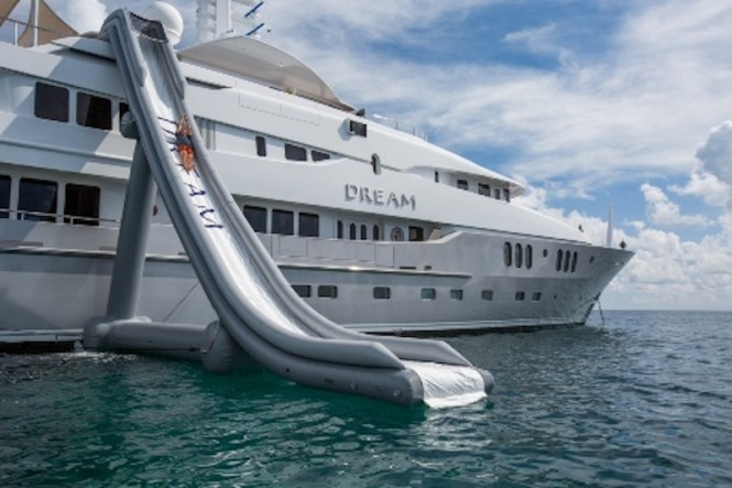 DREAM - a fabulous water slide for unlimited water fun on your charter holiday