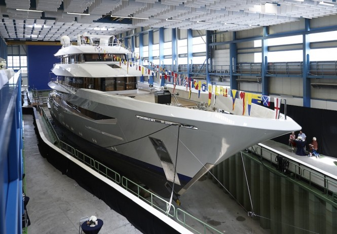 JOY at her launch at Feadship shipyard