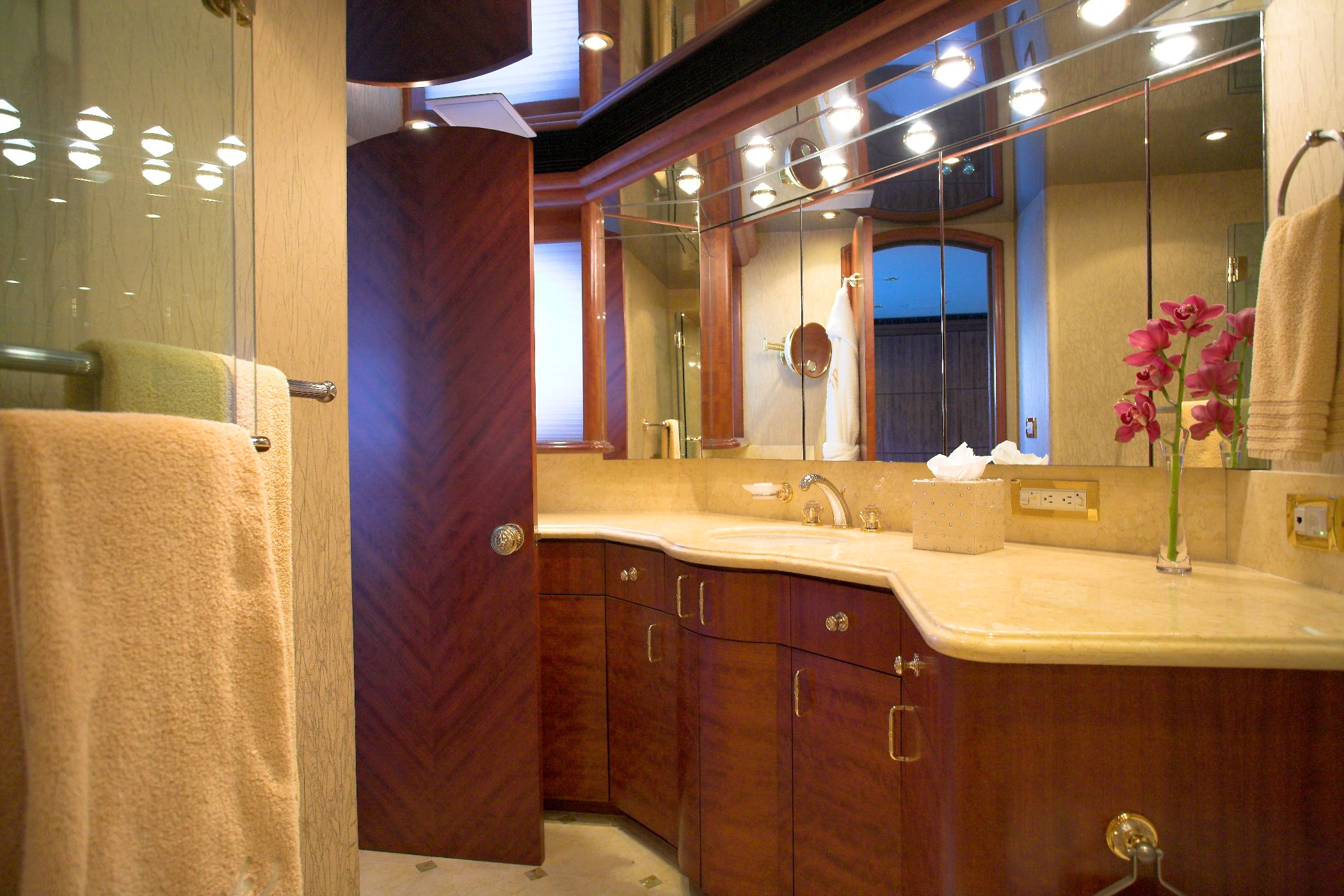 Namoh master suite bathroom yacht charter superyacht Luxury master bathroom suites