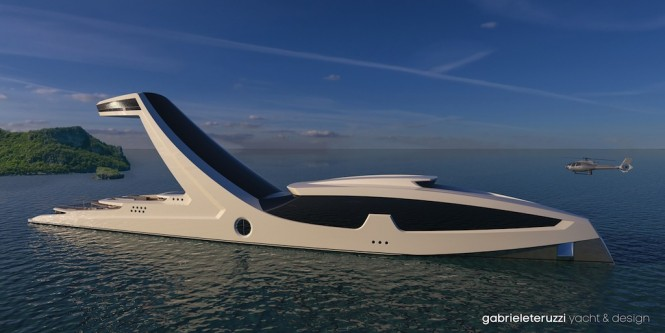 futuristic 150m mega yacht concept shaddai by gabriele. Black Bedroom Furniture Sets. Home Design Ideas