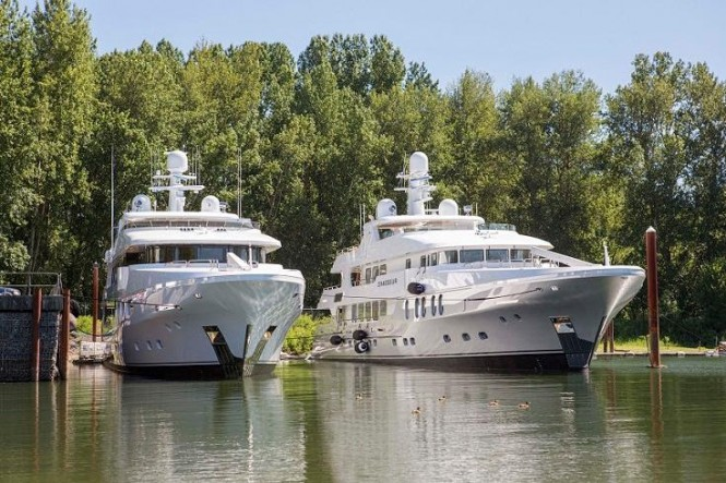 Motor yacht CHASSEUR (right) beside sister yacht SILVER LINING launched less than a week earlier from the same shipyard.