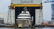 Amels yacht HERE COMES THE SUN at her Launch