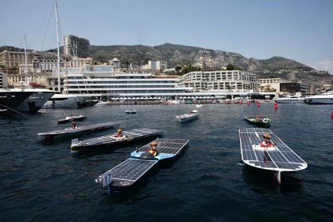 Competitors prepare for the Monaco Solar Boat Challenge 2016