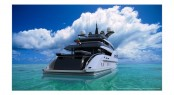 Aft view including beach club of new Nuvolari Lenard design for Turquoise Yachts