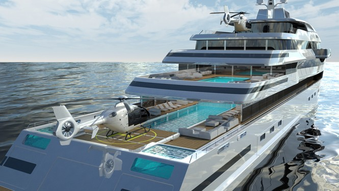 Aft Deck - The Gill Schmid 110m HALYCON super yacht design project