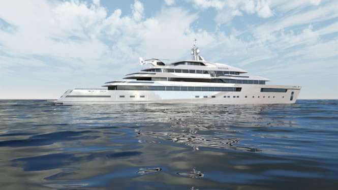 Side Profile - The Gill Schmid 110m HALYCON super yacht design project