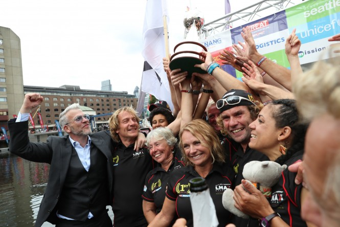 The crew of LMAX - winners of the Clipper Round the World Yacht Race 2016