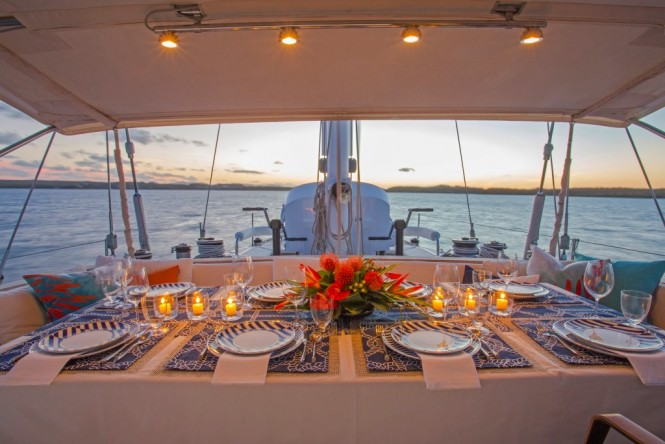 Sailing yacht JUPITER - Alfresco dining in the guest cockpit.