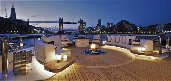 Luxury yacht KISMET - Fire place on the lower aft deck