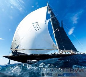 Velsheda all-square with Lionheart on the Costa Smeralda