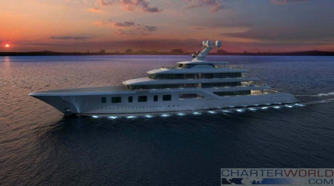 Sinot Exclusive Yacht Design - Superyacht Aquarius or Project Touchdown renderings - evening